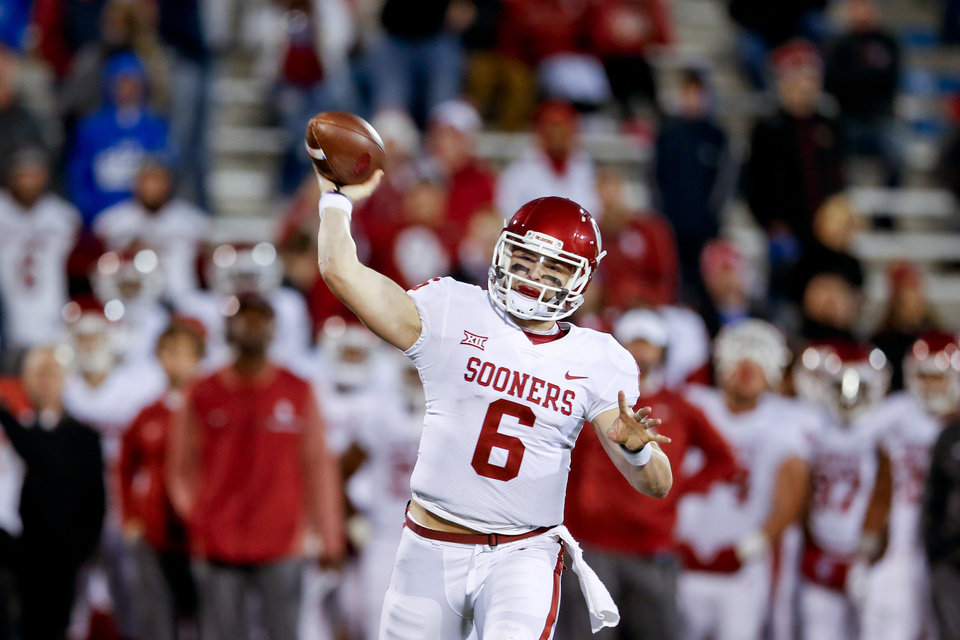 Photo - Oklahoma quarterback Baker Mayfield will not start and will not be a team captain for Saturday's matchup with West Virginia. PHOTO BY IAN MAULE, The Tulsa World
