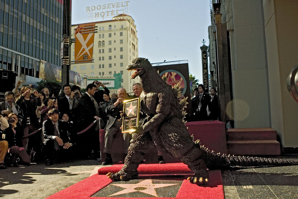 Photo -   The Godzilla character celebrated its 50th anniversary in November 2004 with a star on the Hollywood Walk of Fame next to the Grauman's Chinese Theatre, now TCL ChineseTheatre, along Hollywood Boulevard in Los Angeles.  AP File Photo   Damian Dovarganes -