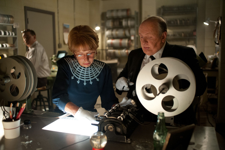 Photo - This film image released by Fox Searchlight shows Helen Mirren as Alma Reville and Anthony Hopkins as Alfred Hitchcock in