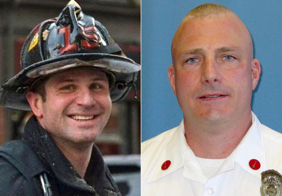 Photo - This combination made with undated photos released by the Boston Fire Department via Twitter shows firefighters Michael R. Kennedy, left, and Lt. Edward J. Walsh, who were killed Wednesday, March 26, 2014, when trapped the basement while fighting a fire in an apartment building in Boston. Kennedy, 33, a Marine Corps combat veteran was assigned to Ladder 15, and had been a firefighter for more than six years. Walsh, 43, and a father of three, was assigned to Engine 33, and had been a firefighter for almost a decade. (AP Photo/Boston Fire Department)