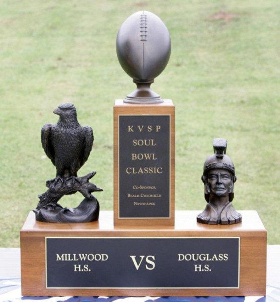 Millwood and Douglass high schools compete for the Soul Bowl Classic trophy every year. <strong>Steve Gooch - THE OKLAHOMAN</strong>