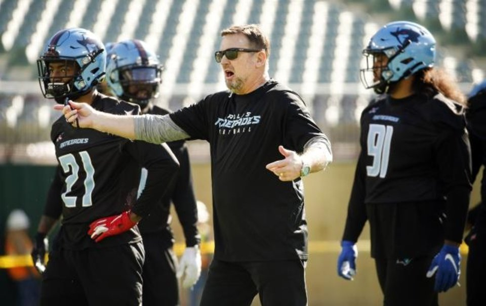 Photo -  Former University of Oklahoma football coach Bob Stoops has moved on to the next challenge in his life. He's now coaching the XFL's Dallas Renegades, which open their season on Sunday vs. the St. Louis Battlehawks. [Courtesy Dallas Morning News]
