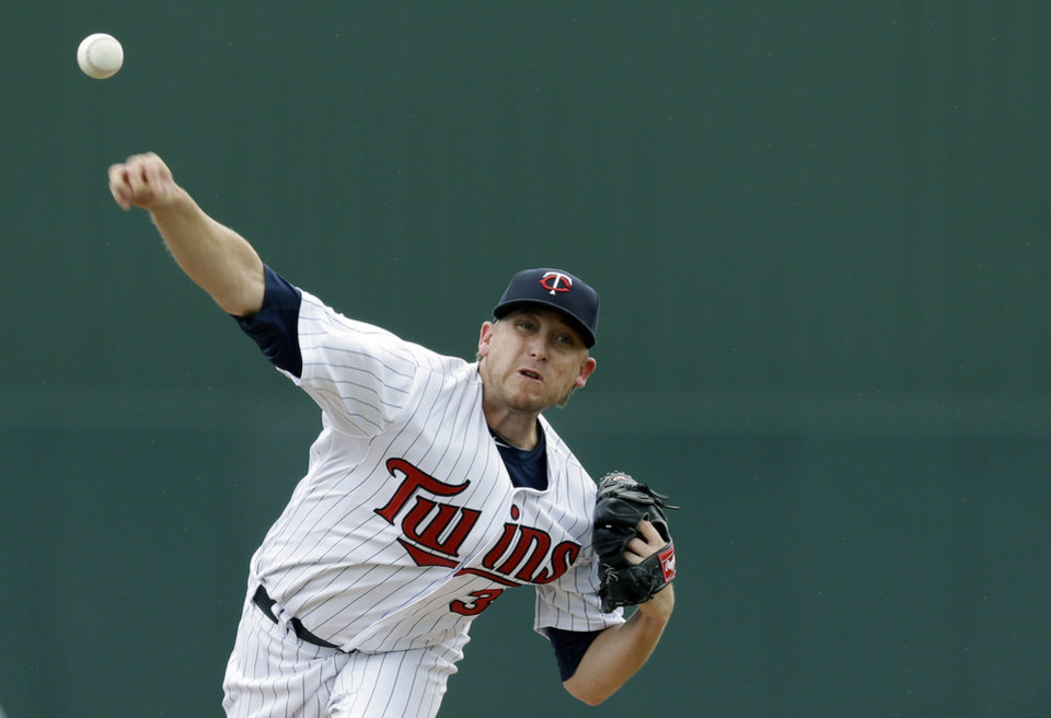 Photo - Minnesota Twins starting pitcher Kevin Correia delivers to the Miami Marlins in the first inning of an exhibition spring training baseball game in Fort Myers, Fla., Monday, March 18, 2013. (AP Photo/Elise Amendola)