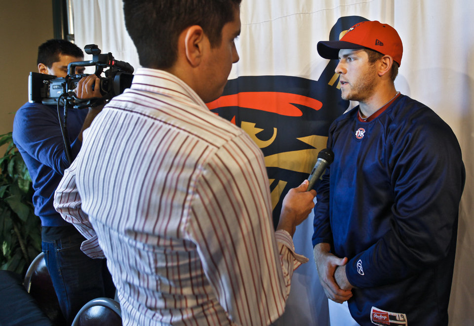 Oklahoma City Redhawks' J.B. Shuck talks to the media during the Oklahoma City Redhawks media day at the Bricktown Ballpark on Tuesday, April 5, 2011, in Oklahoma City, Okla. Photo by Chris Landsberger, The Oklahoman