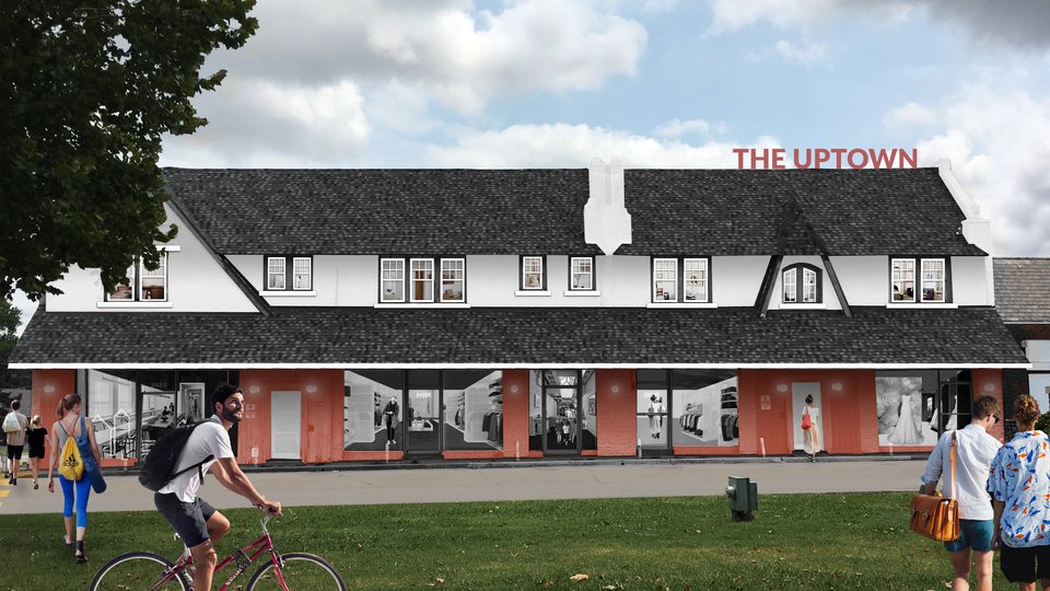 Photo -  The two-story Uptown Building is undergoing restoration into a mix of apartments and retail as shown in this rendering by Bailey Brown. [Provided]