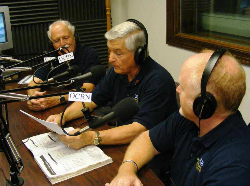 Fred Pope, Larry Sousa and Jeff Finnell, with the Oklahoma Catholic Broadcasting Network, participate in a weekly radio broadcast at an Oklahoma City-area radio station. Photo provided by Mike Miller/Tyler Media