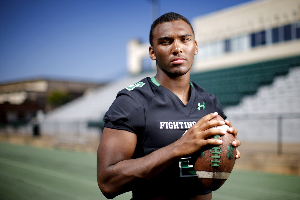 Photo - Brynden Walker of Bishop McGuinness poses for a photo for The Oklahoman's Super 30 football series at Bishop McGuiness High School in Oklahoma City, Tuesday, June 25, 2019. [Bryan Terry/The Oklahoman]