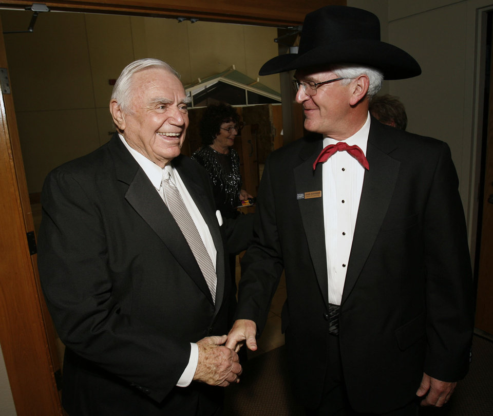 Photo - Actor Ernest Borgnine is welcomed by National Cowboy & Western Heritage Museum executive director Charles Schroeder at the Western Heritage Awards in the National Cowboy & Western Heritage Museum in Oklahoma City, Oklahoma, on Saturday, April 21, 2007.  Photo by Steve Sisney, The Oklahoman ORG XMIT: kod