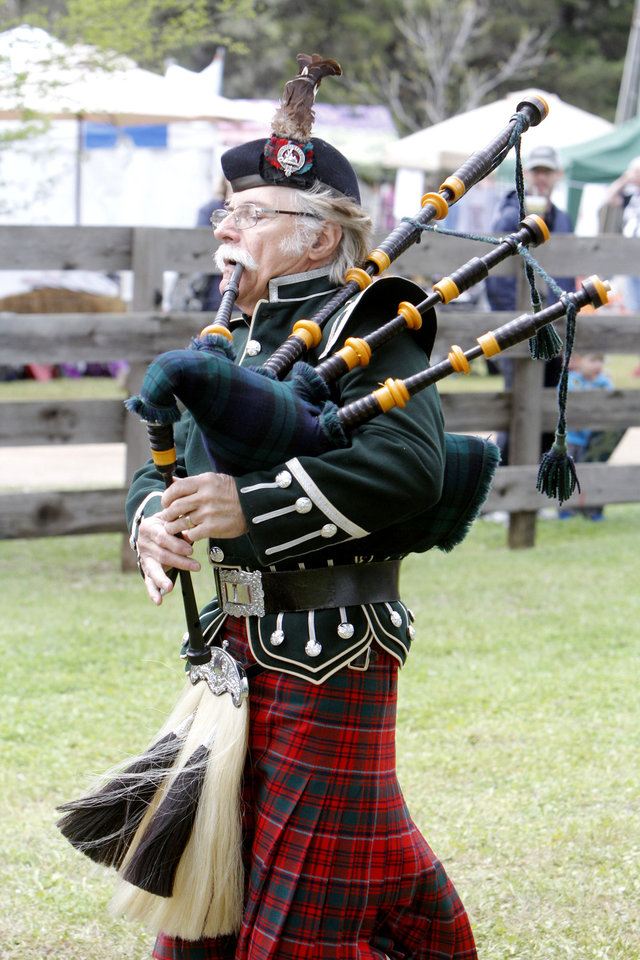 "Al Bruning, with the ""Highlanders Pipes and Drums"" plays the bagpipes during the Iron Thistle Scottish Heritage Festival in Yukon, OK, Saturday, April 27, 2013,  By Paul Hellstern, The Oklahoman"