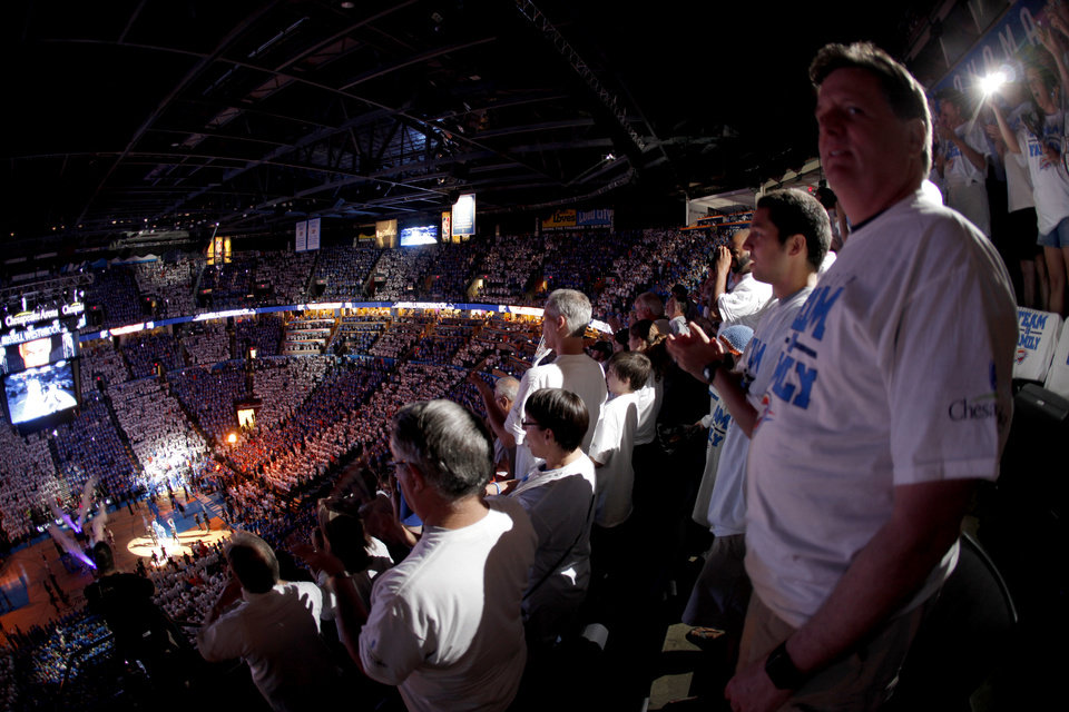 Photo - Fan cheer before Game 2 of the NBA Finals between the Oklahoma City Thunder and the Miami Heat at Chesapeake Energy Arena in Oklahoma City, Thursday, June 14, 2012. Photo by Bryan Terry, The Oklahoman