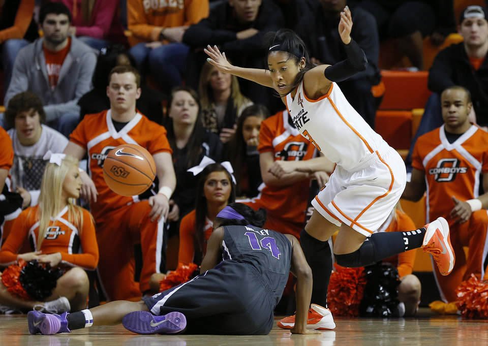 Oklahoma State's Tiffany Bias (3) knocks the ball away from TCU's Zahna Medley (14) during a women's NCAA college basketball game between Oklahoma State University (OSU) and TCU at Gallagher-Iba Arena in Stillwater, Okla., Tuesday, Jan. 14, 2014.  Photo by Bryan Terry, The Oklahoman