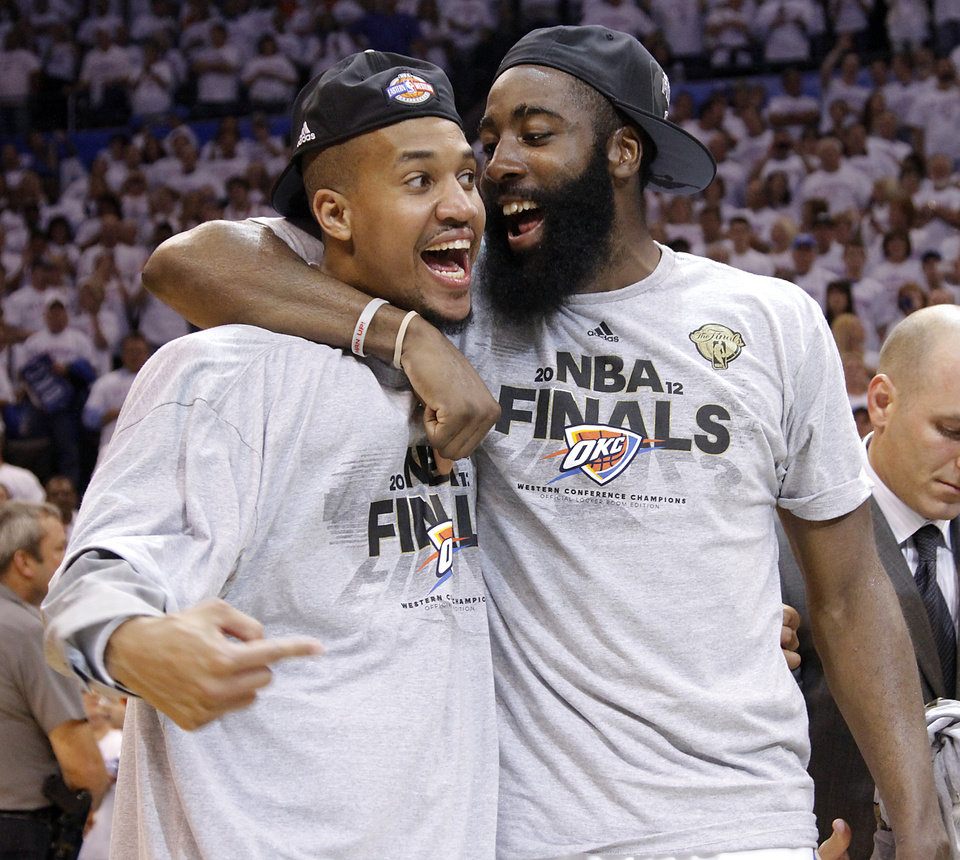 Photo - The Thunder's Eric Mayor and James Harden celebrate after the 107-99 win over the Spurs during Game 6 of the Western Conference Finals between the Oklahoma City Thunder and the San Antonio Spurs in the NBA playoffs at the Chesapeake Energy Arena in Oklahoma City, Wednesday, June 6, 2012. Photo by Chris Landsberger, The Oklahoman