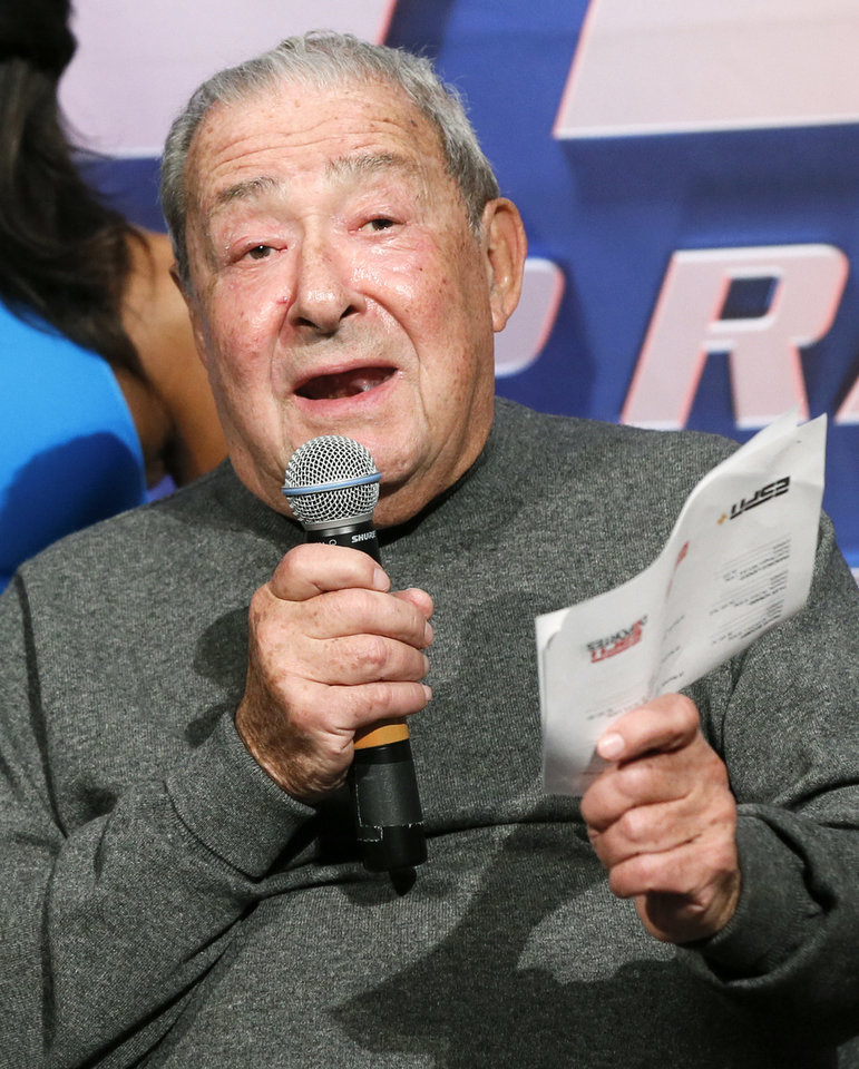 Photo - Promoter Bob Arum speaks during the press conference for the Maurice Hooker vs. Alex Saucedo WBO junior welterweight world title fight, at the Sheraton Hotel in Oklahoma City, Nov. 14, 2018. Photo by Nate Billings, The Oklahoman
