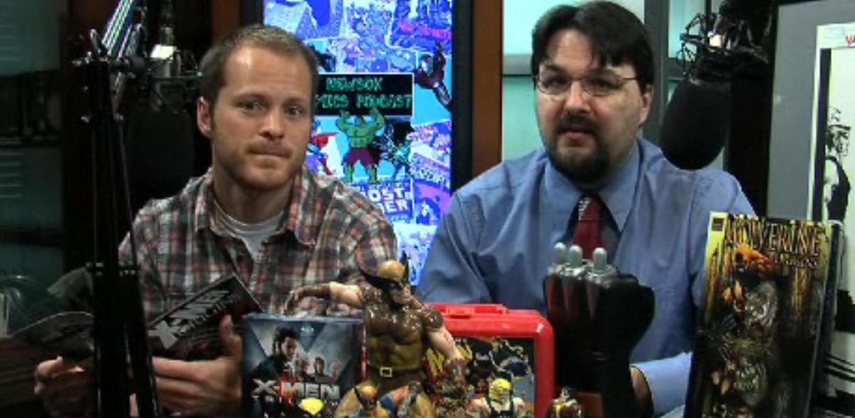 Photo -  Kyle Roberts and Matt Price - not afraid to read comics in public. Or on video.