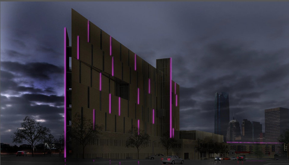 Photo -  The proposed eight-story building designed by Rand Elliott will include colored LED lighting. Rendering by Elliott Associates