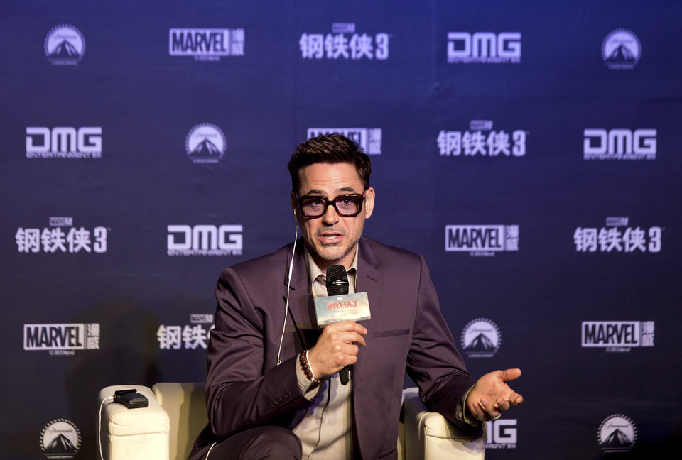 Photo - U.S. actor Robert Downey Jr. speaks during a world premiere event of his new movie