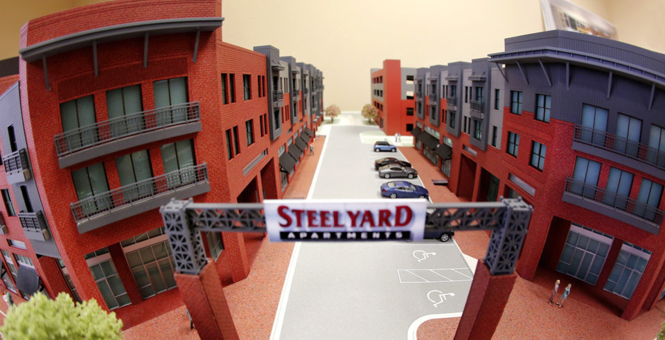 Photo -  Model of proposed Steelyard Apartments on the east edge of Bricktown, on Thursday, Sep. 25, 2014.  Photo by Jim Beckel, The Oklahoman