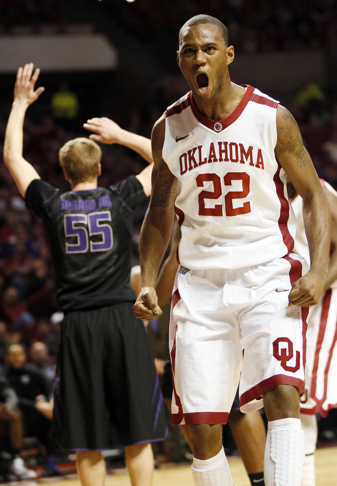Photo - Oklahoma's Amath M'Baye (22) reacts in the first half after making a basket and being fouled during an NCAA men's basketball game between the University of Oklahoma (OU) and Kansas State at the Lloyd Noble Center in Norman, Okla., Saturday, Feb. 2, 2013. Photo by Nate Billings, The Oklahoman