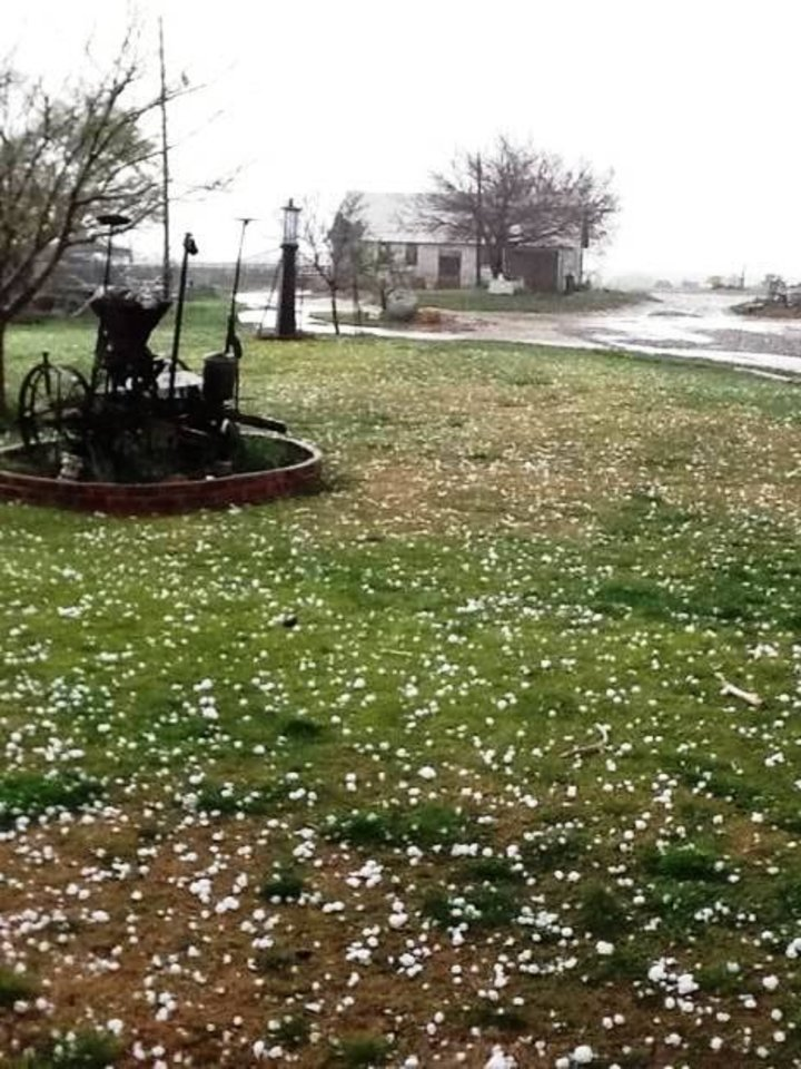 Hail falls in Reed, OK, as a storm moves through Greer County on Sunday, March 18, 2012. Photo contributed by Taylor Thompson.