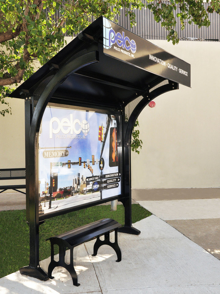 A bus shelter by Pelco Products Inc., in Edmond.  Photo Provided