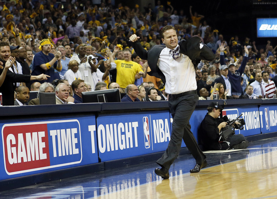 Oklahoma City coach Scott Brooks reacts late in regulation to his team not being able to quickly foul the Grizzlies when they are down 93-92 with 10.9 second left in the fourth quarter during Game 4 of the second-round NBA basketball playoff series between the Oklahoma City Thunder and the Memphis Grizzlies at FedExForum in Memphis, Tenn., Monday, May 13, 2013. Memphis won 103-97 in overtime. Photo by Nate Billings, The Oklahoman