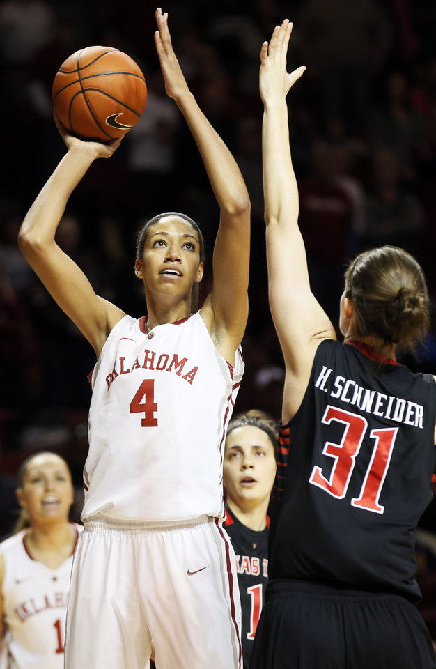 Photo - Oklahoma's Nicole Griffin (4) shoots against Texas Tech's Haley Schneider (31) during a women's college basketball game between the Oklahoma Sooners and Texas Tech at Lloyd Noble Center in Norman, Okla., Monday, March 3, 2014. Photo by Nate Billings, The Oklahoman