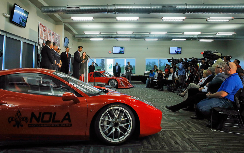 Photo - Louisiana Gov. Bobby Jindal, announces during a press conference Monday, May 5, 2014, at NOLA Motorsports Park that  IndyCar will race at NOLA Motorsports Park in Avondale next year. (AP Photo/ NOLA.com The Times-Picayune David Grunfeld)