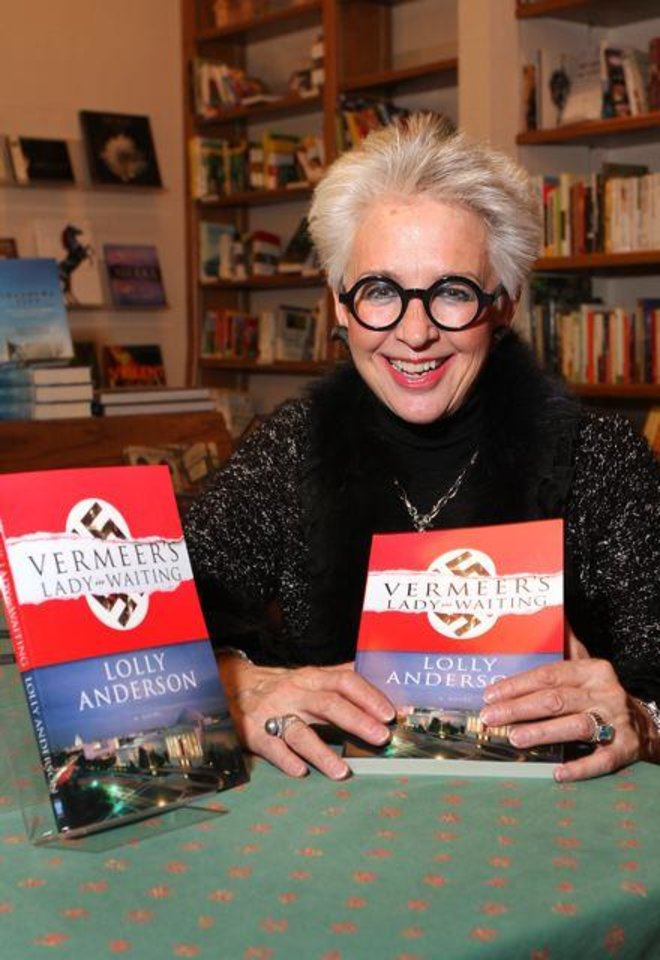 Lolly  Anderson was the honoree at a reception and book signing event at Full Circle Book Store. She has just written her first novel called �Vermeer�s Lady in Waiting. It is her third book. (Photo by David Faytinger).
