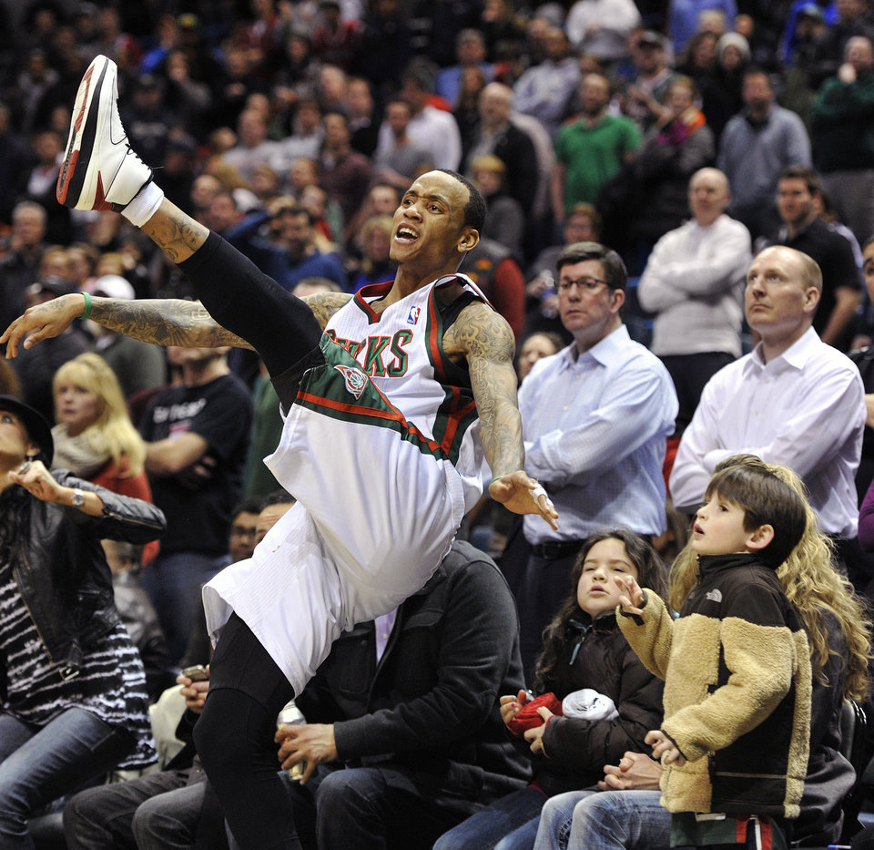 Milwaukee Bucks' Monta Ellis reacts after getting fouled on a 3-point attempt in the closing seconds of an NBA basketball game against the Brooklyn Nets, Wednesday, Feb. 20, 2013, in Milwaukee. The Nets won 97-94. (AP Photo/Jim Prisching)