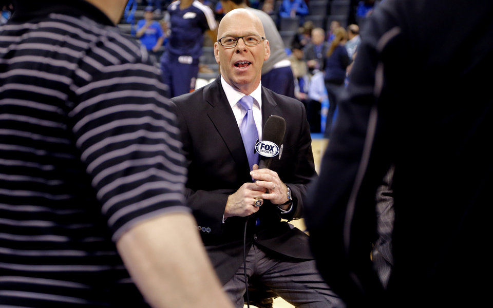 Photo -  Who will join Thunder play-by-play announcer Brian Davis on TV this upcoming season? Photo by Chris Landsberger, The Oklahoman