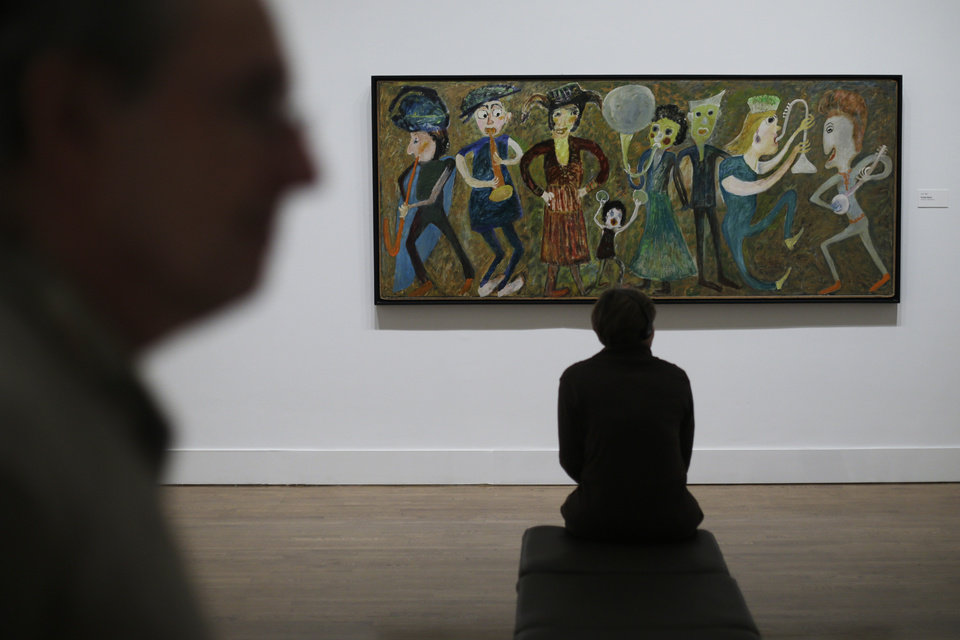"""Photo - A Jon Serl painting titled Family Band is seen during a press preview for """"Great and Mighty Things"""": Outsider Art from the Jill and Sheldon Bonovitz Collectionat the Philadelphia Museum of Art Friday, March 1, 2013, in Philadelphia. The exhibition is scheduled to run from March 3, 2013 - June 9, 2013. (AP Photo/Matt Rourke)"""