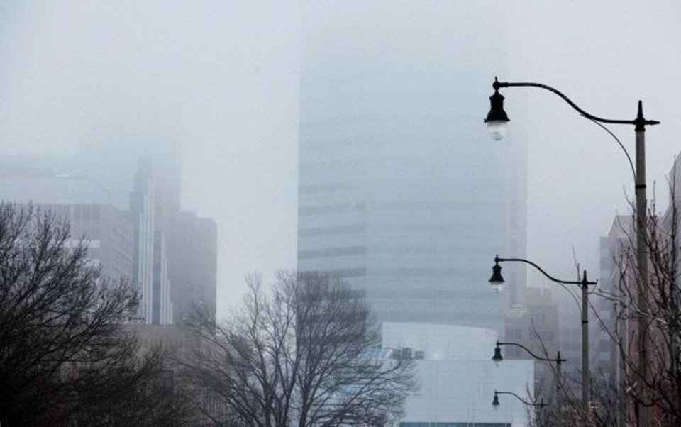 Photo - Dense fog in downtown Oklahoma City Wednesday morning - Photo by Paul B. Southerland