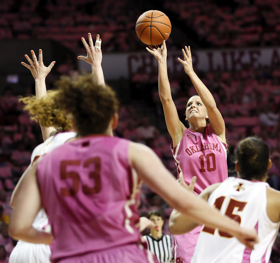 Photo - Oklahoma's Morgan Hook (10) shoots the ball during an NCAA women's basketball game between the University of Oklahoma (OU) and Iowa State at the Lloyd Noble Center in Norman, Okla., Thursday, Feb. 14, 2013. Photo by Nate Billings, The Oklahoman