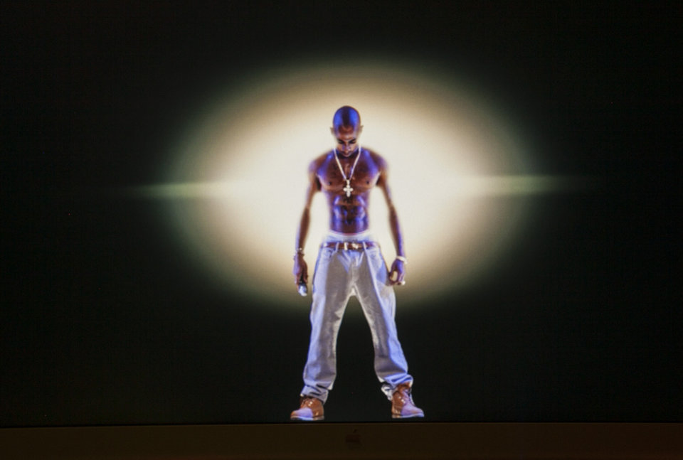 Photo -   In this photo taken Tuesday, June 12, 2012, a video image of the Tupac Shakur hologram is displayed on a computer monitor at the Subtractive Studio in Santa Monica, Calif. When Tupac Shakur rose from the stage in the California desert earlier this year, it was not only a jaw-dropping resurrection, but also the beginning of a new form of live entertainment. Stars wield extensive control over how their names, voices and images are used after they die through likeness, trademark and copyright protections, and now holograms offer them yet another consideration.(AP Photo/Damian Dovarganes)