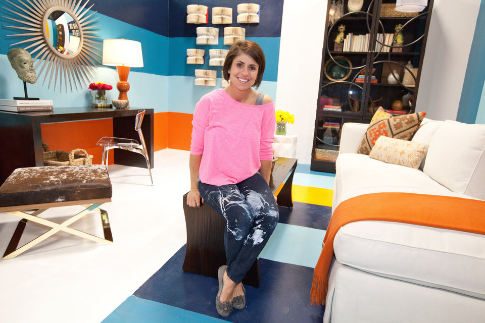 "For ""Design Star All Stars"" first episode challenge, the returning designers were given a white box in which to create a functional space that expresses their unique point of view.  Shown here, designer Kellie Clements poses for a photo in her completed space as seen on HGTV Design Star All Stars season 1. Photo provided. <strong>Aaron Rapoport</strong>"
