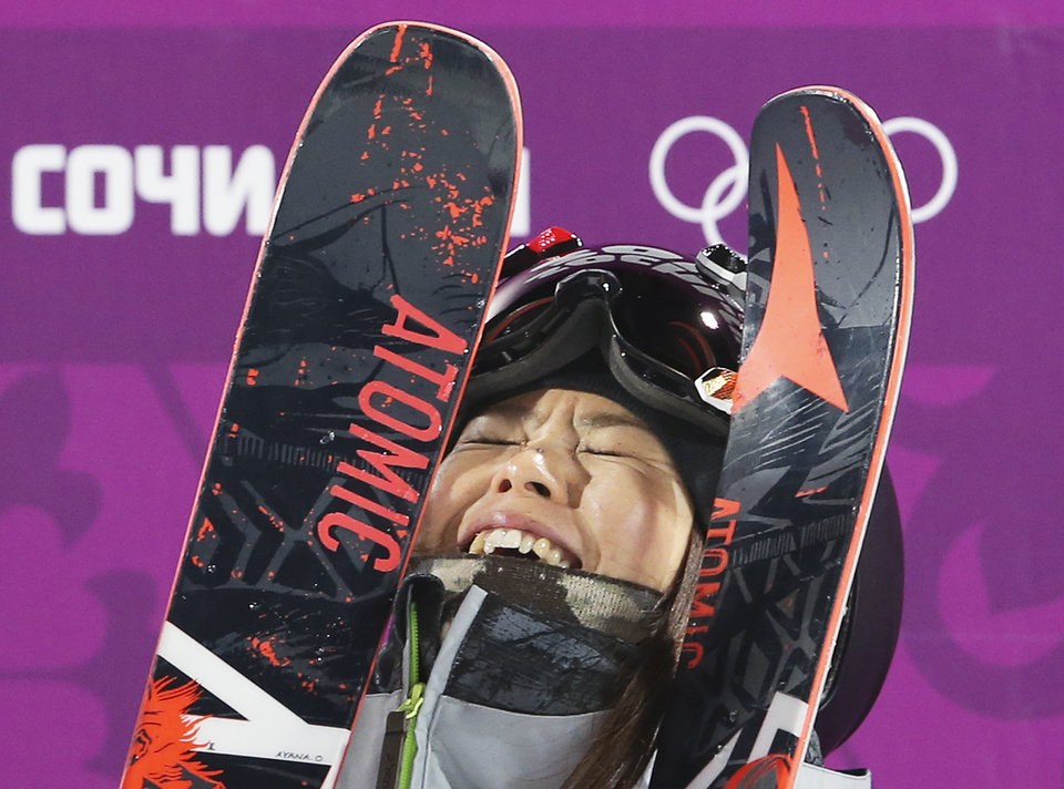 Photo - Japan's Ayana Onozuka reacts after her second run in the women's ski halfpipe final at the Rosa Khutor Extreme Park, at the 2014 Winter Olympics, Thursday, Feb. 20, 2014, in Krasnaya Polyana, Russia. (AP Photo/Sergei Grits)