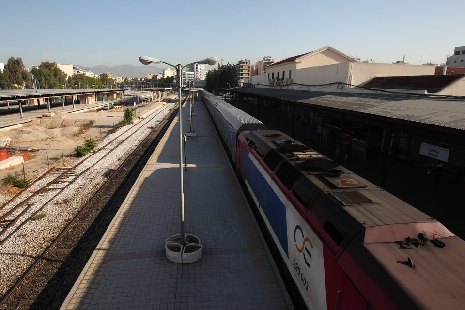 Photo -   A train is parked at the central train station during a nationwide general strike in Athens, Wednesday, Sept. 26, 2012. Greek workers have walked off their jobs for the first general strike since the country's coalition government was formed in June, as Athens struggles to push through more punishing austerity measures demanded by rescue creditors. (AP Photo/Thanassis Stavrakis)