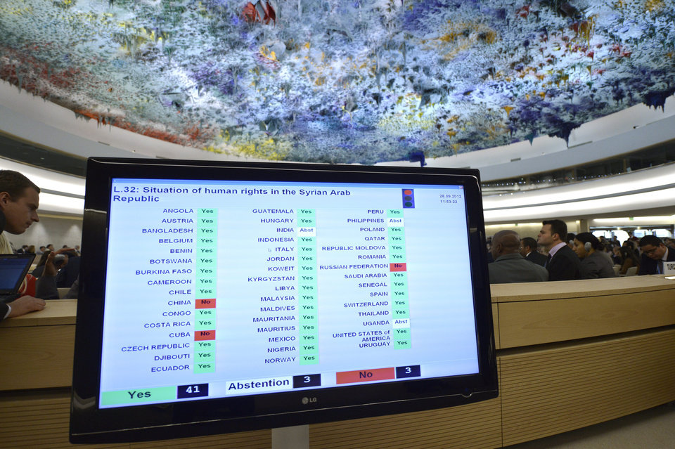 Photo -   A screen shows the results of the vote after The Syria draft resolution was just adopted by the Council during the 21th session of the Human Rights Council at the European headquarters of the United Nations in Geneva, Switzerland, Friday, Sept. 28, 2012. The U.N.'s top human rights body on Friday extended by six months the mission of its independent expert panel probing alleged war crimes in Syria's 18-month conflict. (AP Photo/Keystone, Martial Trezzini)