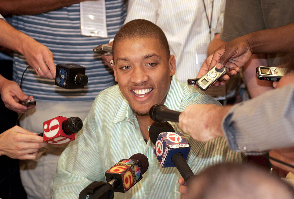 Photo - Michael Beasley from Kansas State University talks to reporters at the predraft NBA basketball camp in Lake Buena Vista, Fla., Thursday, May 29, 2008.(AP Photo/Reinhold Matay) ORG XMIT: FLRM122
