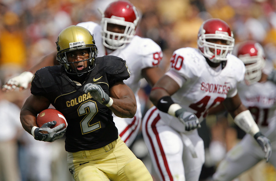 Colorado's Hugh Charles (2) races past the Oklahoma defense during the first half of the college football game between the University of Oklahoma Sooners (OU) and the University of Colorado Buffaloes (CU) at Folsom Field on Saturday, Sept. 28, 2007, in Boulder, Co. 