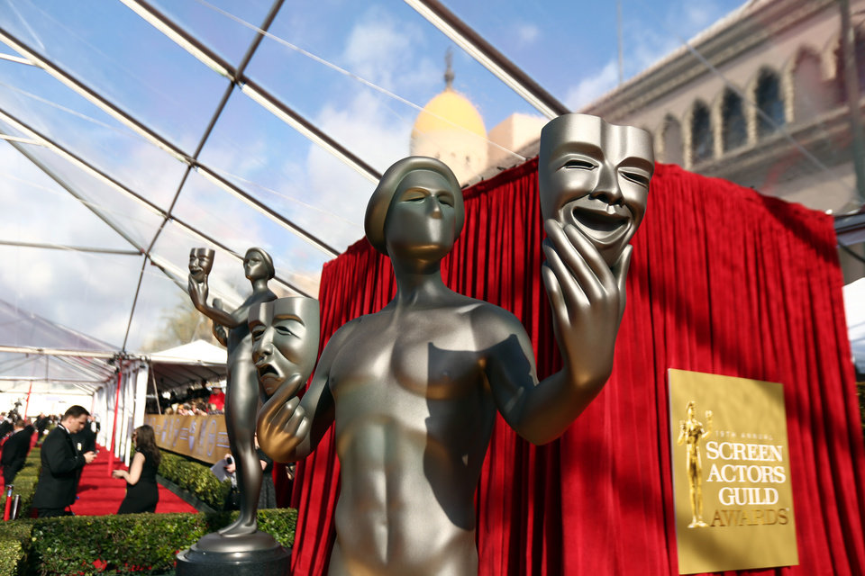 Photo - A statue is displayed at the 19th Annual Screen Actors Guild Awards at the Shrine Auditorium in Los Angeles on Sunday, Jan. 27, 2013. (Photo by Matt Sayles/Invision/AP)
