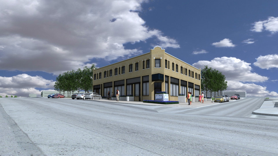 Photo - A planned renovation of long-time boarded up former hotel at Walnut and Harrison Avenues is shown in this rendering.   Elliott Associates  - Elliott + Associates