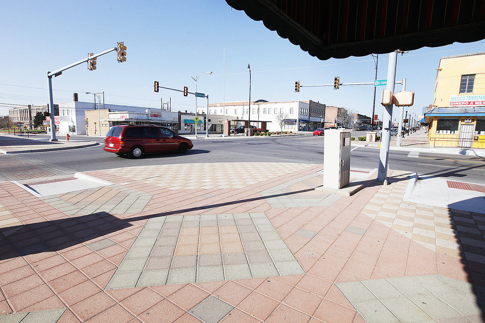 Photo - Oklahoma City's Capitol Hill business district is seen at the intersection of SW 25 and Robinson.  Photos by Paul B. Southerland, The Oklahoman