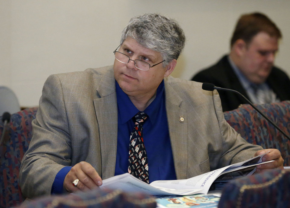 Photo - Oklahoma state Rep. Steven Vaughan, R-Ponca City, listens during a joint legislative budget committee meeting Jan. 24 in Oklahoma City. AP Photo  Sue Ogrocki
