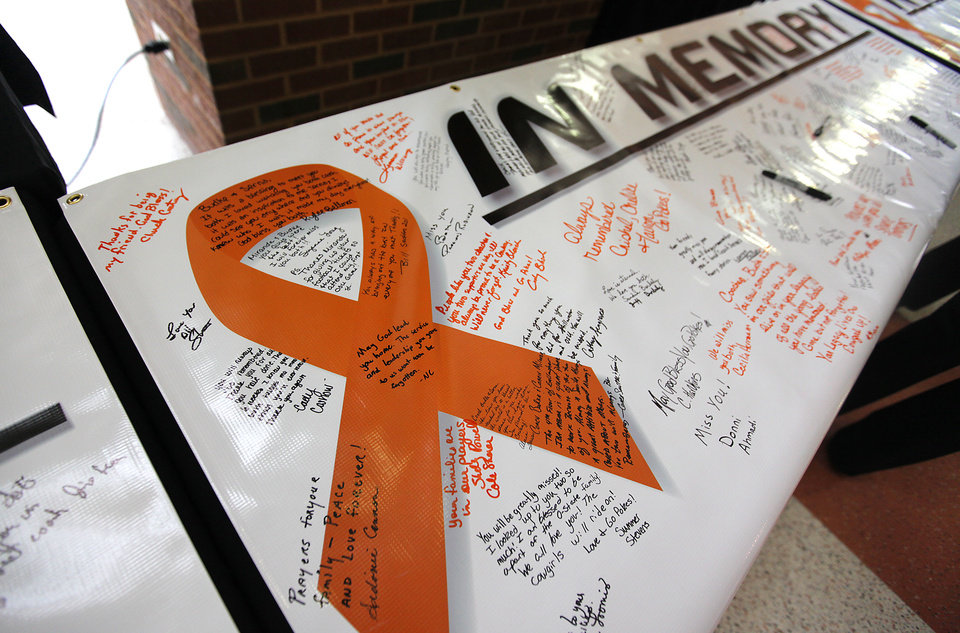 Photo - Memory banners fill up with messages left by members of the Oklahoma State family during the memorial service for Oklahoma State head basketball coach Kurt Budke and assistant coach Miranda Serna at Gallagher-Iba Arena on Monday, Nov. 21, 2011 in Stillwater, Okla. The two were killed in a plane crash along with former state senator Olin Branstetter and his wife Paula while on a recruiting trip in central Arkansas last Thursday. Photo by Chris Landsberger, The Oklahoman