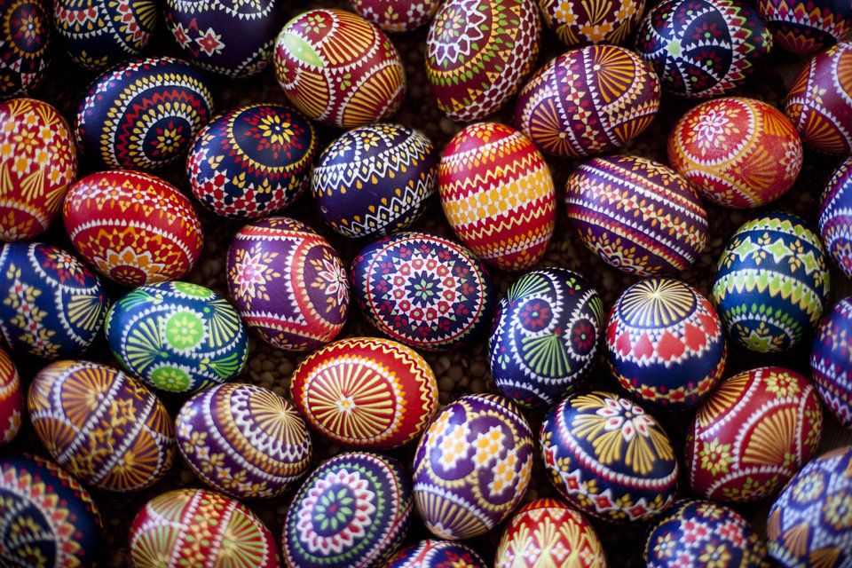 FILE - Easter eggs are on display at a Sorb market in Schleife, about 160 kilometers (100 miles) south-east of Berlin, on Saturday, March 24, 2012.  A tiny Slavic minority in Germany is keeping alive a long and intricate tradition of hand-painting Easter eggs _ with the help of feathers and wax.  Shortly after Christmas every year, Karin Hannusch gets to work decorating up to 600 eggs for the annual Easter market in Schleife, a center of the small Sorbian community.  (AP Photo/Markus Schreiber)