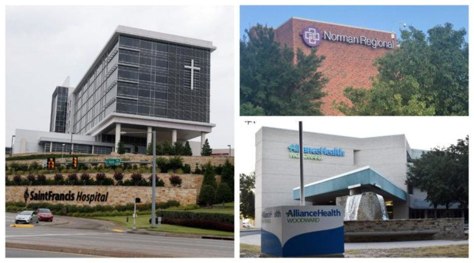 Photo -  Saint Francis Health System, Norman Regional Health System and AllianceHealth Woodward were among the hospitals or systems that sued patients the most over unpaid bills. [Photos via Oklahoma Watch and Tulsa World]