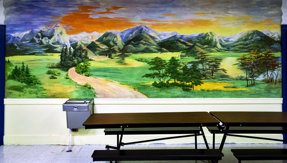 Photo -  The mural painted in 1951 by artist Zyta Laky at Wilson Elementary's cafeteria in Oklahoma City. Wilson Elementary is celebrating its 100th anniversary.  [Chris Landsberger/The Oklahoman]