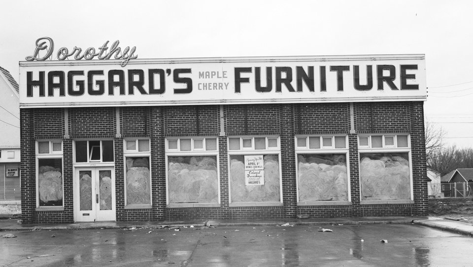 Photo - David Wanzer, developer and designer, is restoring the former Blair's Upholstery Building, also once home to Haggard's Furniture to the facade seen in this photo.  Courtesy Oklahoma Historical Society