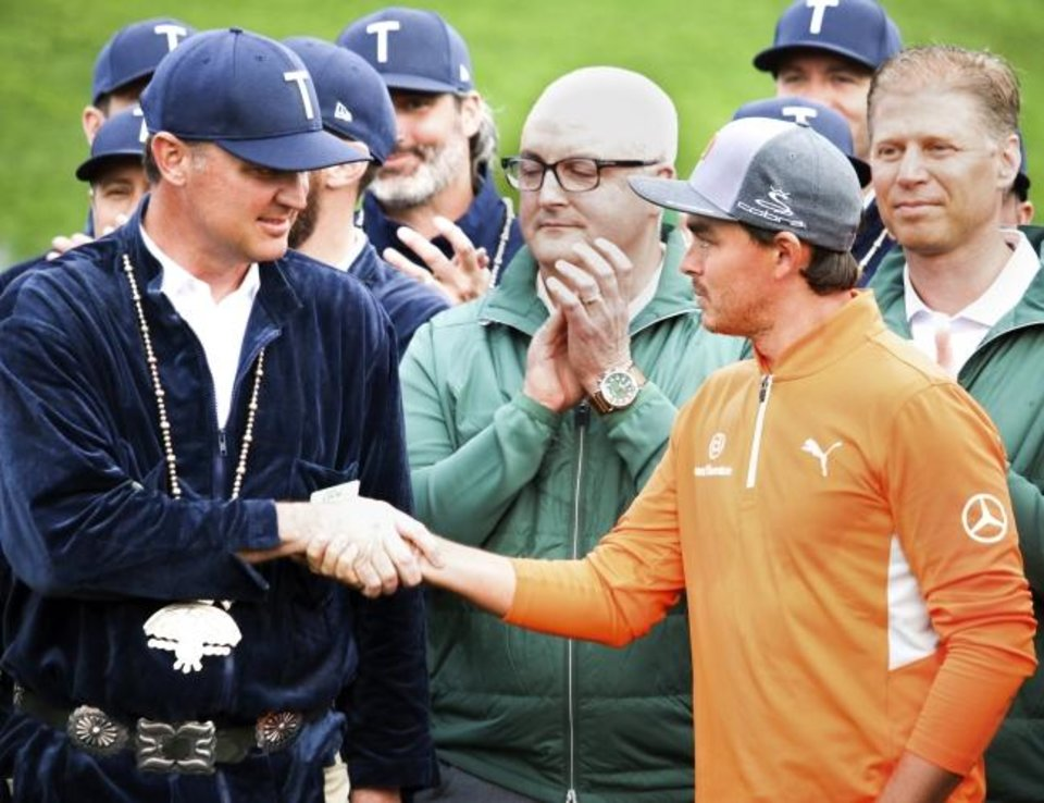 Photo -  Chance Cozby, left, played golf at Oklahoma, but the Oklahoma native and chairman of the Waste Management Phoenix Open, was thrilled to have Oklahoma State alum Rickie Fowler win the tournament Sunday. [PHOTO COURTESY OF THE WASTE MANAGEMENT PHOENIX OPEN]